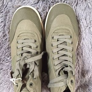 NIB, Canvas Sneakers/boot, Olive/Cream Green Color